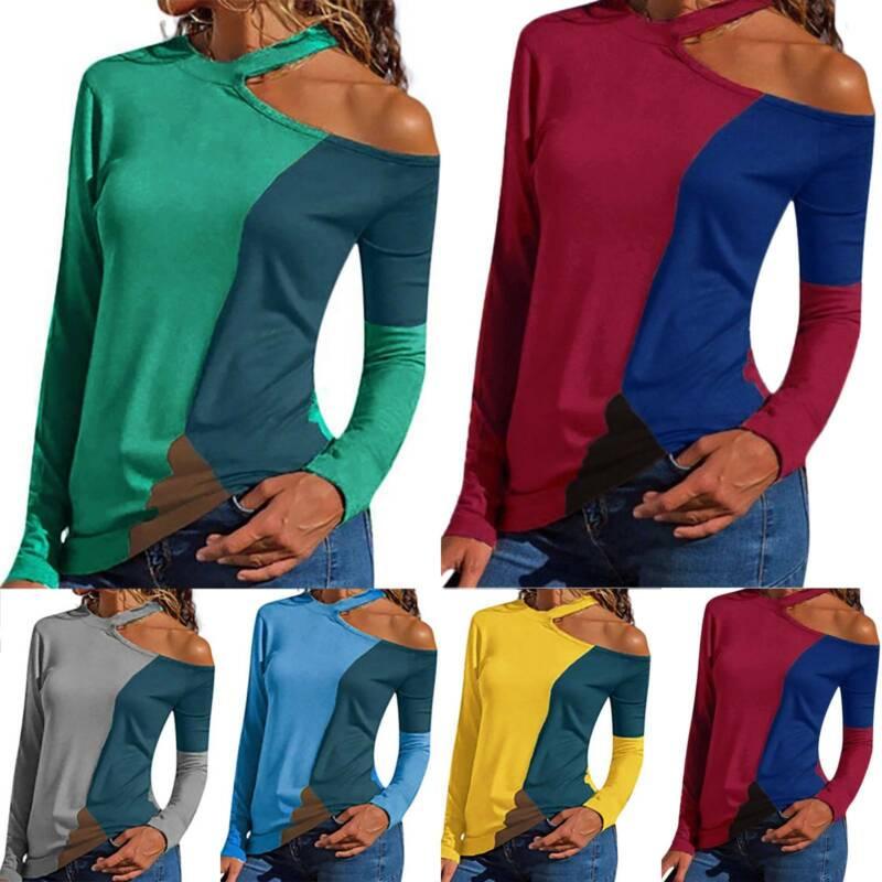Damen One Cold Shoulder T-Shirt Oberteil Neckholder Langarm Farbblock Bluse Tops