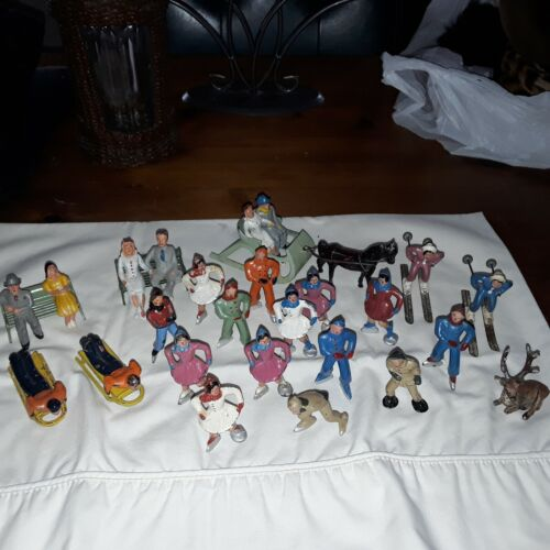 Group Antique Barclay Manoil Lead Skiers, Skaters, Sleigh & Horse Figures!