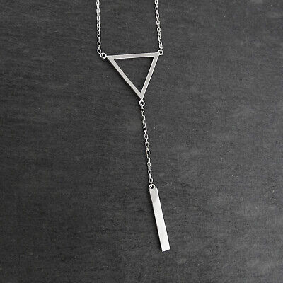 """Triangle and Vertical Bar 18"""" Y-Necklace - Sterling Silver - Lariat Geometric"""
