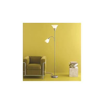 Torchiere Floor Lamp with Task Light Silver - Room Essentials™