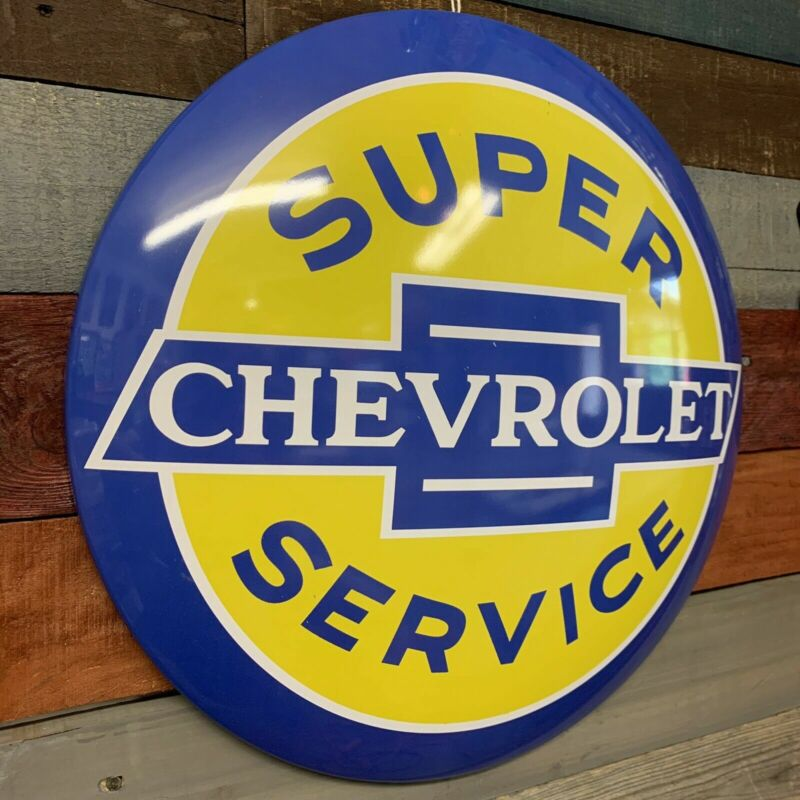 "Chevrolet Super Service 15.5"" Licensed Domed Metal Sign - Bar, Man Cave, Garage"