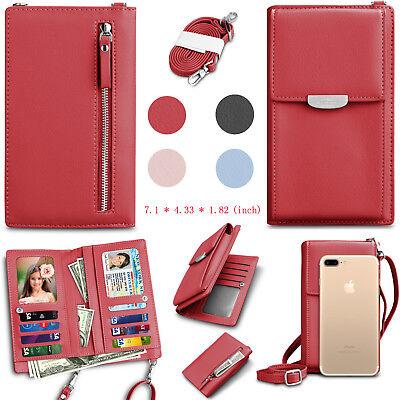 Women Phone Crossbody Shoulder Strap Bag Purse PU Leather Wallet ID Card Holder