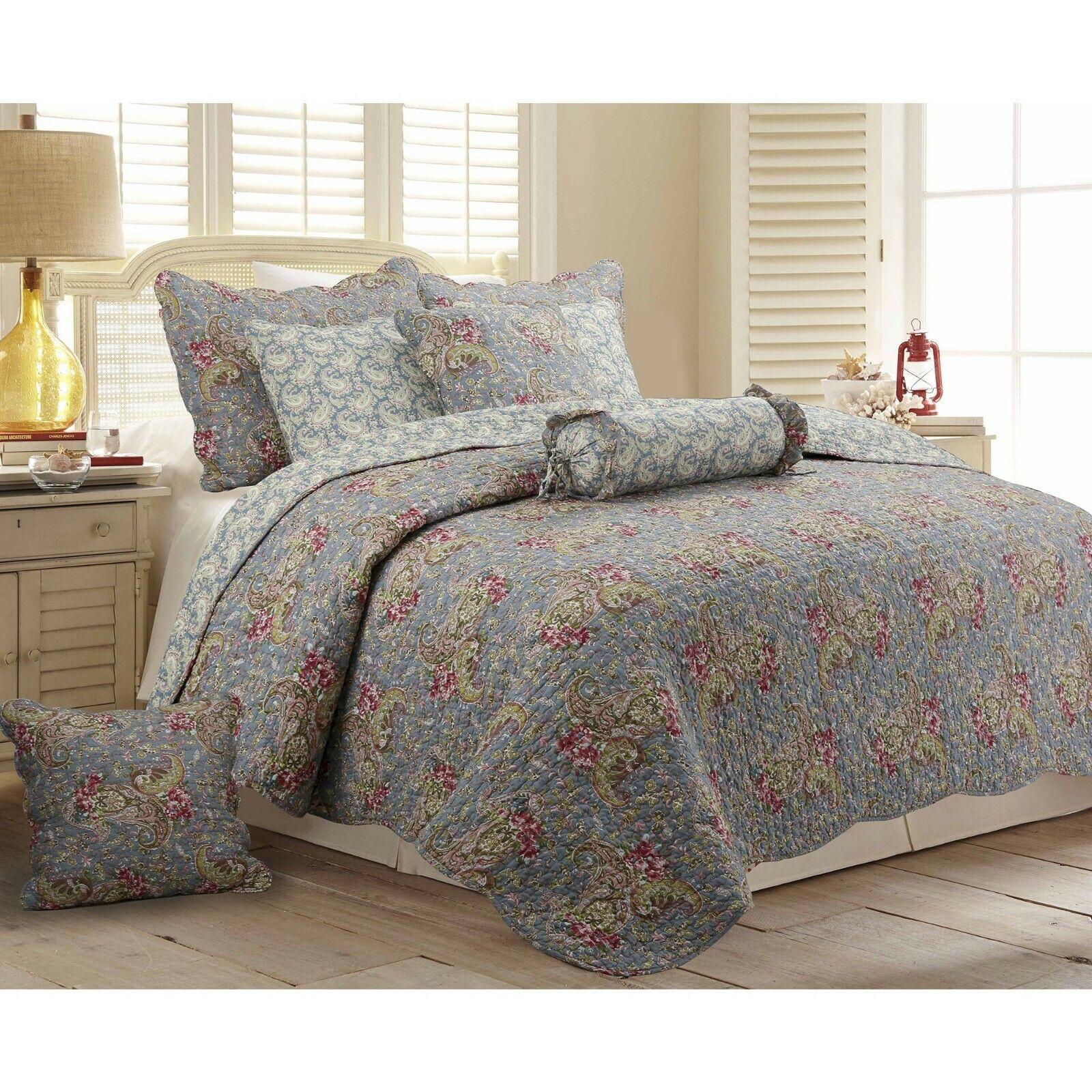 KING Size 100% Cotton Paisley Reversible 3 Pc Cottage Quilt