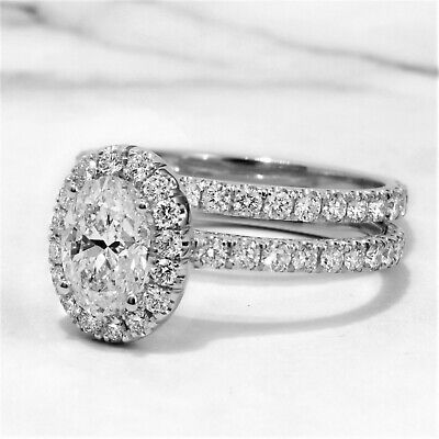 14K 2.70 Ct Halo Oval Cut Diamond U-Setting Engagement Ring Set D,SI1 GIA  2