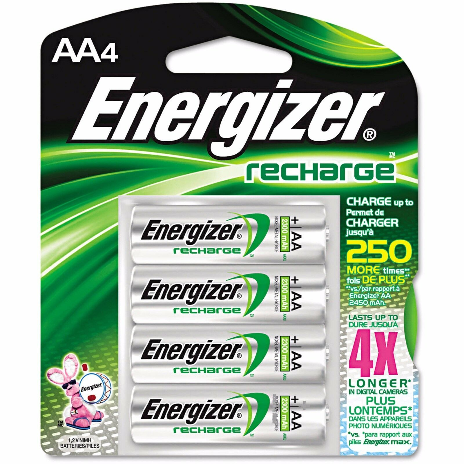 4/pack AA Energizer Rechargeable NiMH Batteries EXP 2021 AA4