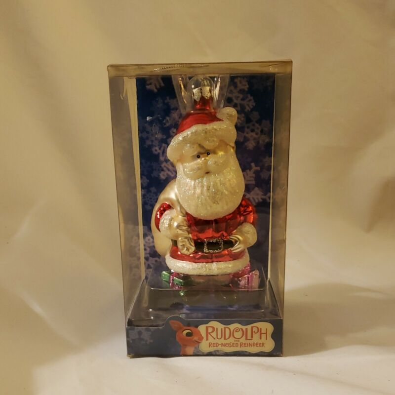 2004 Brass Key Rudolph the Red Nosed Reindeer Santa Claus Glass Ornament