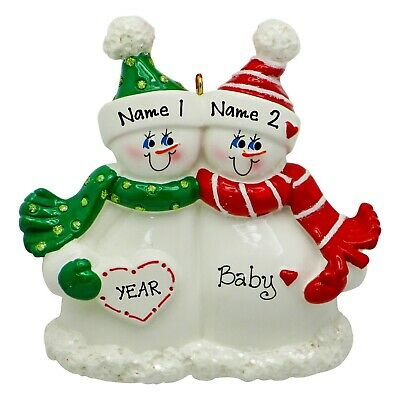 PERSONALIZED Expecting Snow Couple Proud New Parents Baby Christmas Ornament ()