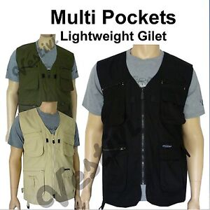 Mens-Multi-Pocket-Lightweight-Casual-Summer-Gilet-Bodywarmer-Fishing-Waistcoat