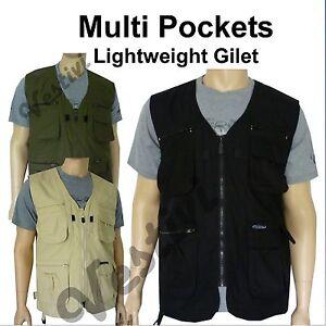 Mens-Multi-Pocket-Lightweight-Casual-Summer-Gilet-Bodywarmer-Fishing-Waistcoat