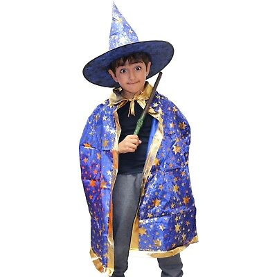 Boys / Girls / Kids Blue Wizard Halloween Fancy Dress Costume (Hat & - Boys Wizard Costume