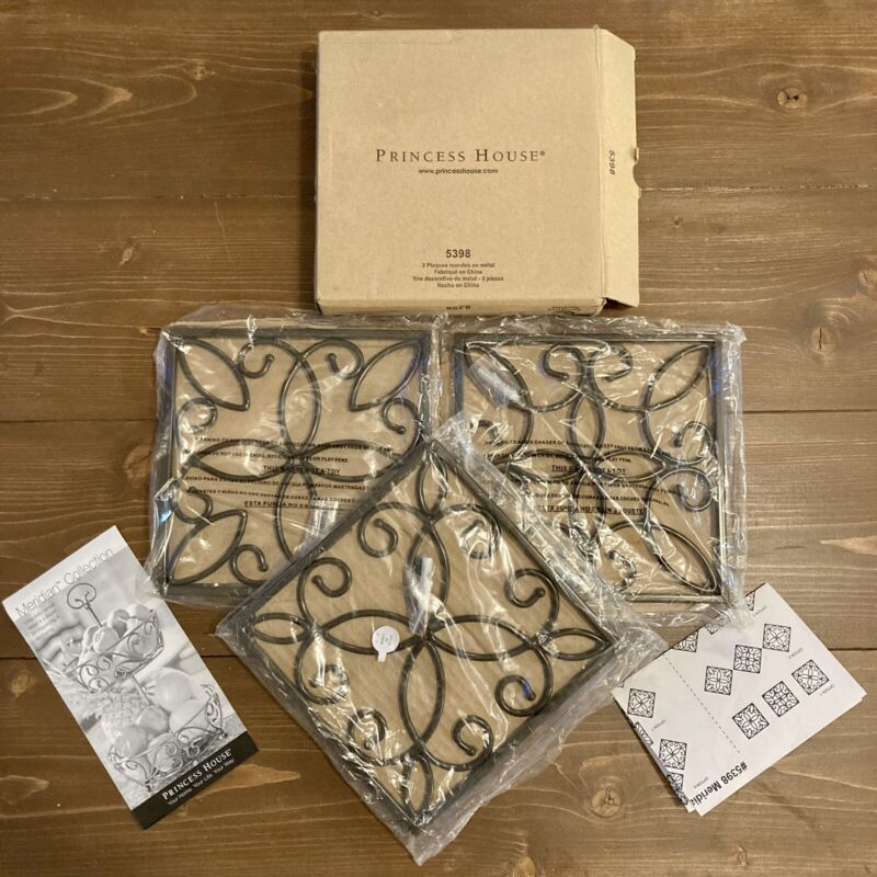 New With Box - Princess House Meridian (3) Metal Wall Plates Plaques 5398