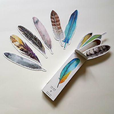 30pc Feather Bookmark Book Mark Magazine Note Pad Memo Label School