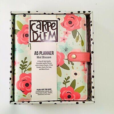 Carpe Diem Planner A5 6 Ring Binder Mint Blossom Large Planner Floral