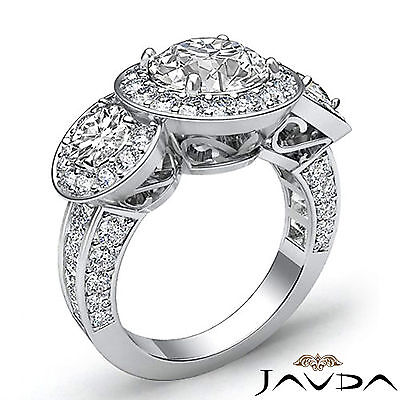 3 Stone Dazzling Round Diamond Solid Engagement Ring GIA G SI1 Platinum 2.3 ct 2