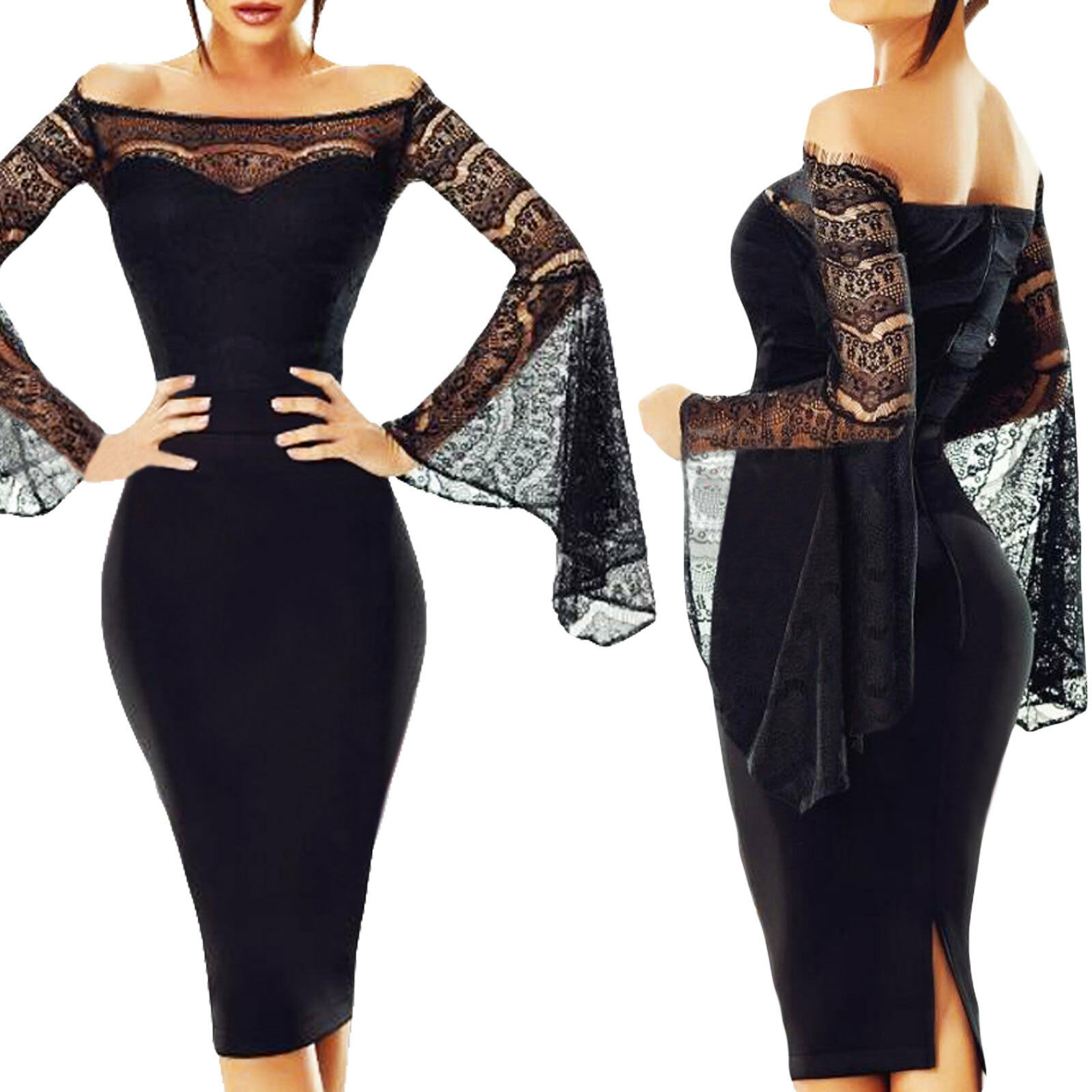 85211e7f47bb Vestito donna miniabito elegante maniche campana pizzo scollo barchetta