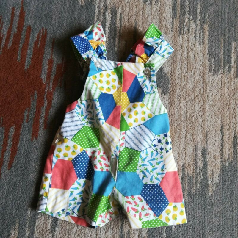 Vintage 1970s Health Tex Patchwork Baby Overalls Romper Shorts Size 12 Months