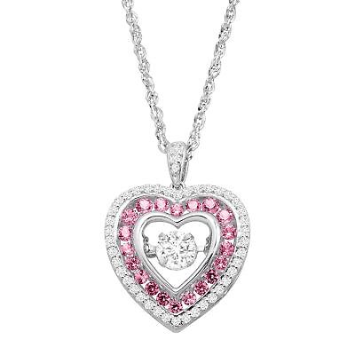 Created Sapphire Heart Pendant - Created Pink & White Sapphire Floater Heart Pendant in Sterling Silver