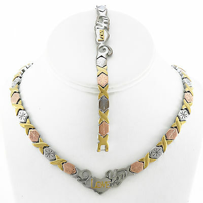 Stainless Steel Three Tone I LOVE YOU Hugs & Kisses Set Necklace Bracelet 18/20