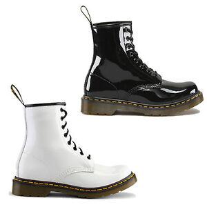 New-Dr-Martens-1460-Patent-Black-White-Boots-Ladies-Shoes-Size-UK-4-9