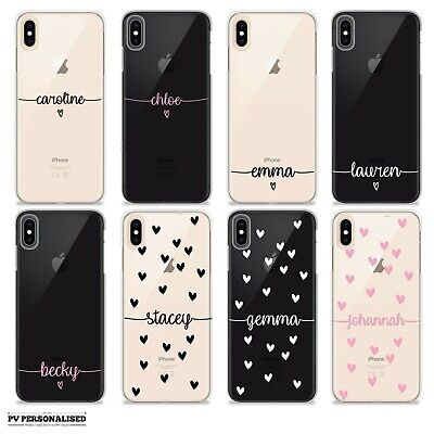 PERSONALISED INITIALS NAME GEL SILICONE HEARTS PHONE CASE COVER FOR APPLE IPHONE
