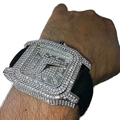 "Men's Hip Hop Watch Roman Numerals Silver Tone Iced Bling Square Face 6""-8"" Band"
