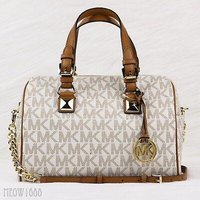 New Michael Kors GRAYSON Vanilla Logo Crossbody Chain Satchel Purse Bag $348