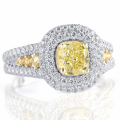 GIA Certified 2.04 Ct Cushion Cut Natural Yellow Diamond Engagement Ring 18k  4