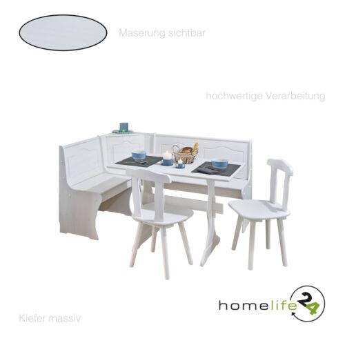 Eckbank Gruppe mit Tisch Bank und 2 Stühle weiß Kiefer massiv