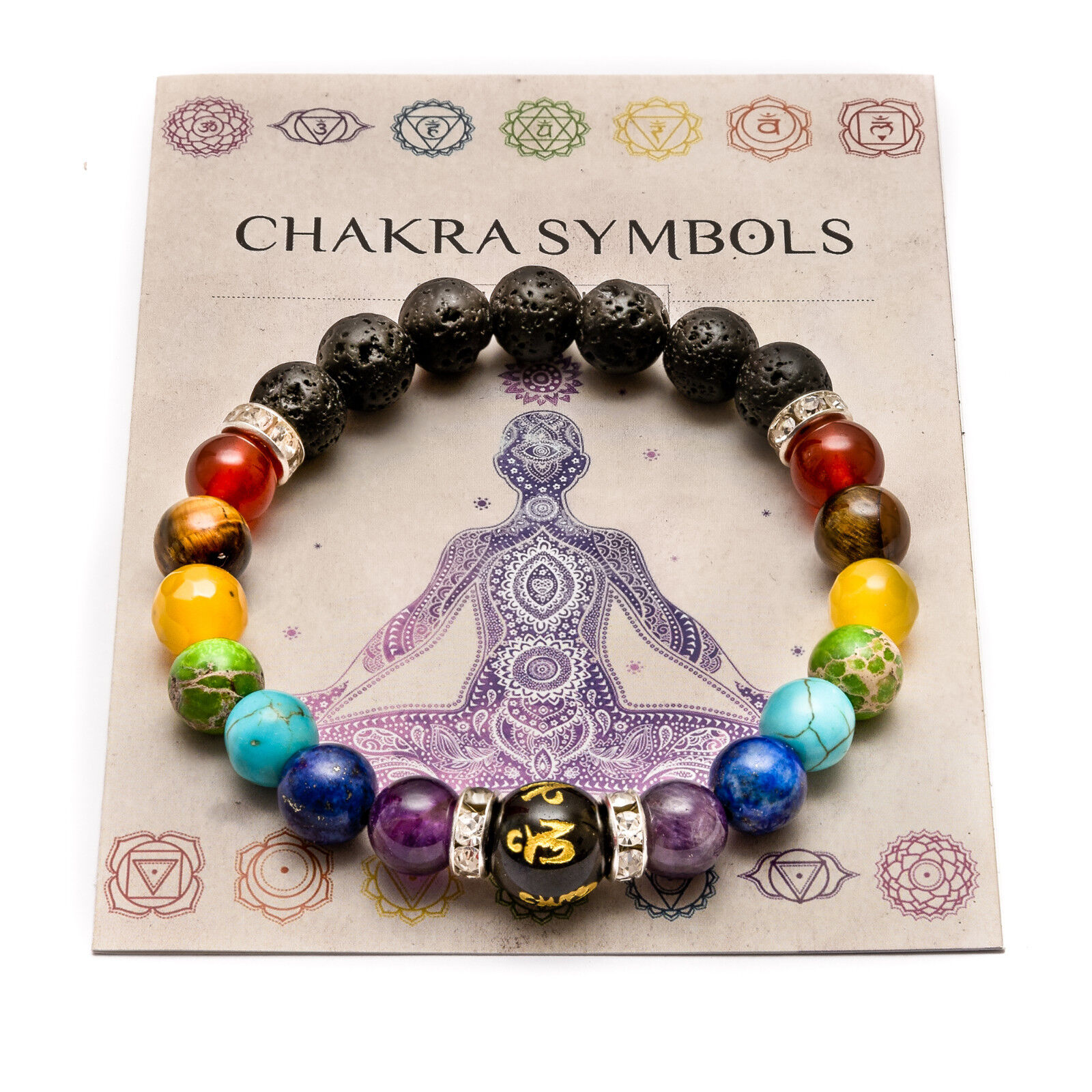 Jewellery - 7 Chakra Christal Stones Bracelet. Healing Beads Jewellery. Natural Reiki gift