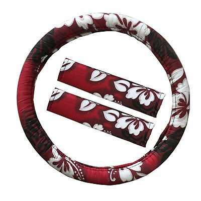 New Red Hawaiian Hibiscus Car Truck Steering Wheel Cover Seat Belt Pads Covers