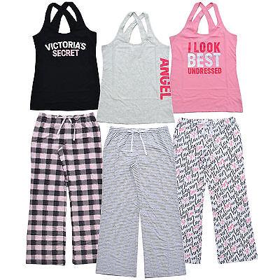 Victoria's Secret Pajama Set Lounge Pant Pj Bottoms Tank Top Sleepwear Vs -