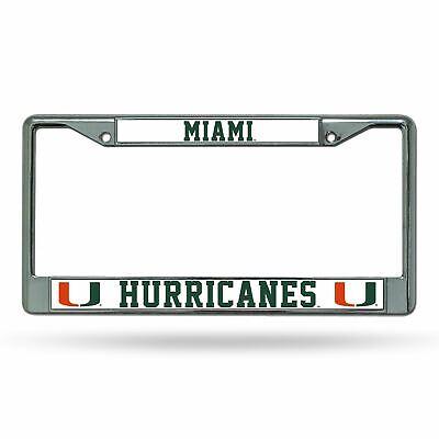 Miami Hurricanes Chrome License Plate Frame Tag Cover Car/Auto (Miami Frame)
