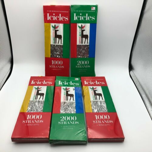 NOS Vintage Christmas Tree Tinsel Icicles 3 Velvet Touch 2 Santa