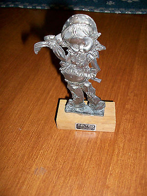 Peltro Pewter Young Girl Hiding Flower Figurine 4.5 Inches Made in Italy
