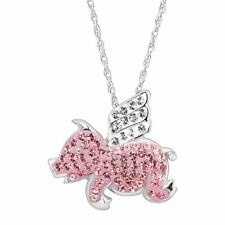 Crystaluxe Flying Pig Pendant with Swarovski Crystals in Sterling Silver