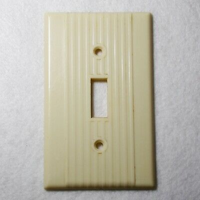 Vintage NOS Ribbed LEVITON Two Gang Receptacle Wall Plate Ivory