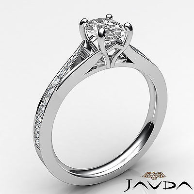 Cathedral Split Shank Pave Oval Diamond Engagement Ring GIA E Color VS2 0.85 Ct 1