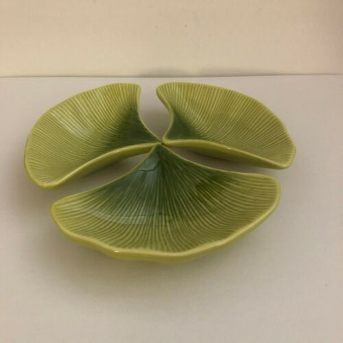 Three Crate & Barrel Gingko Leaf Soy Sauce Bowls~Lime Green~394 580