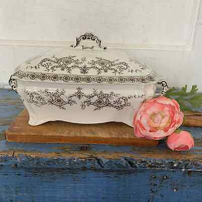 Antique Transferware Brown Tureen Covered Dish Casserole England Pottery 1900s