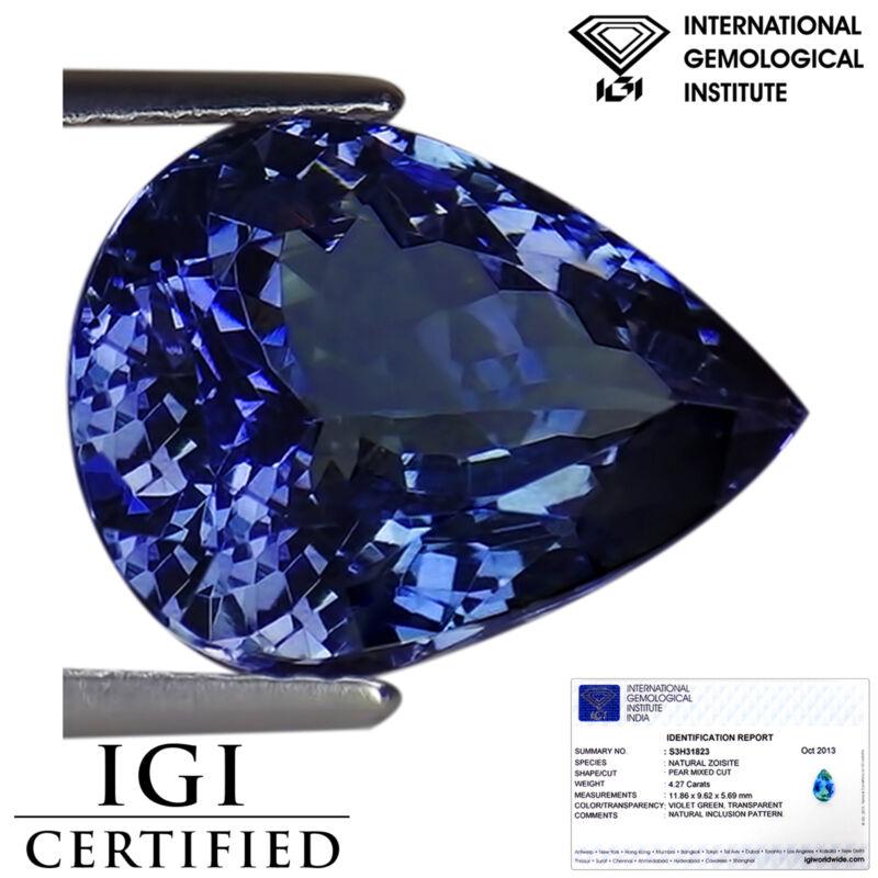 6.45 Ct IGI Certified A Natural D Block Tanzanite Green Blue Violet Pear Cut