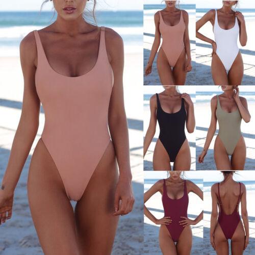 Damen Bandage Monokini Einteiler Schwimmanzug Gepolstert Push Up Bikini Bademode