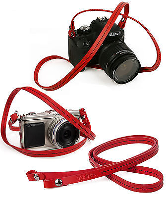 Whole leather camera neck shoulder strap - Red - Film DSLR RF Leica Digi Cute