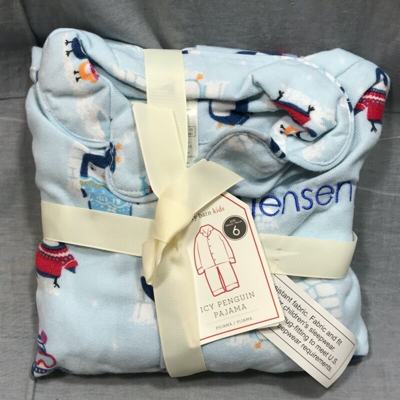 Pottery Barn Kids Icy Penguin Flannel Pajamas Size 6