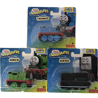 (3) Thomas & Friends Adventures Metal Engine Lot-(1) Thomas (1) Percy (1) Diesel