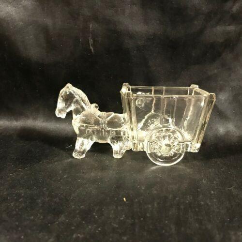 Vintage Clear Glass Donkey Cart Sugar Pack Holder Retro Kitchen