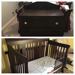 Matching crib and change table set