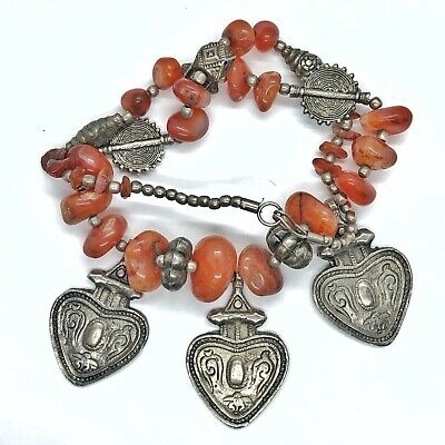 Antique Middle Eastern Agate Necklace Silver Tone Islamic Charms Jewelry Old