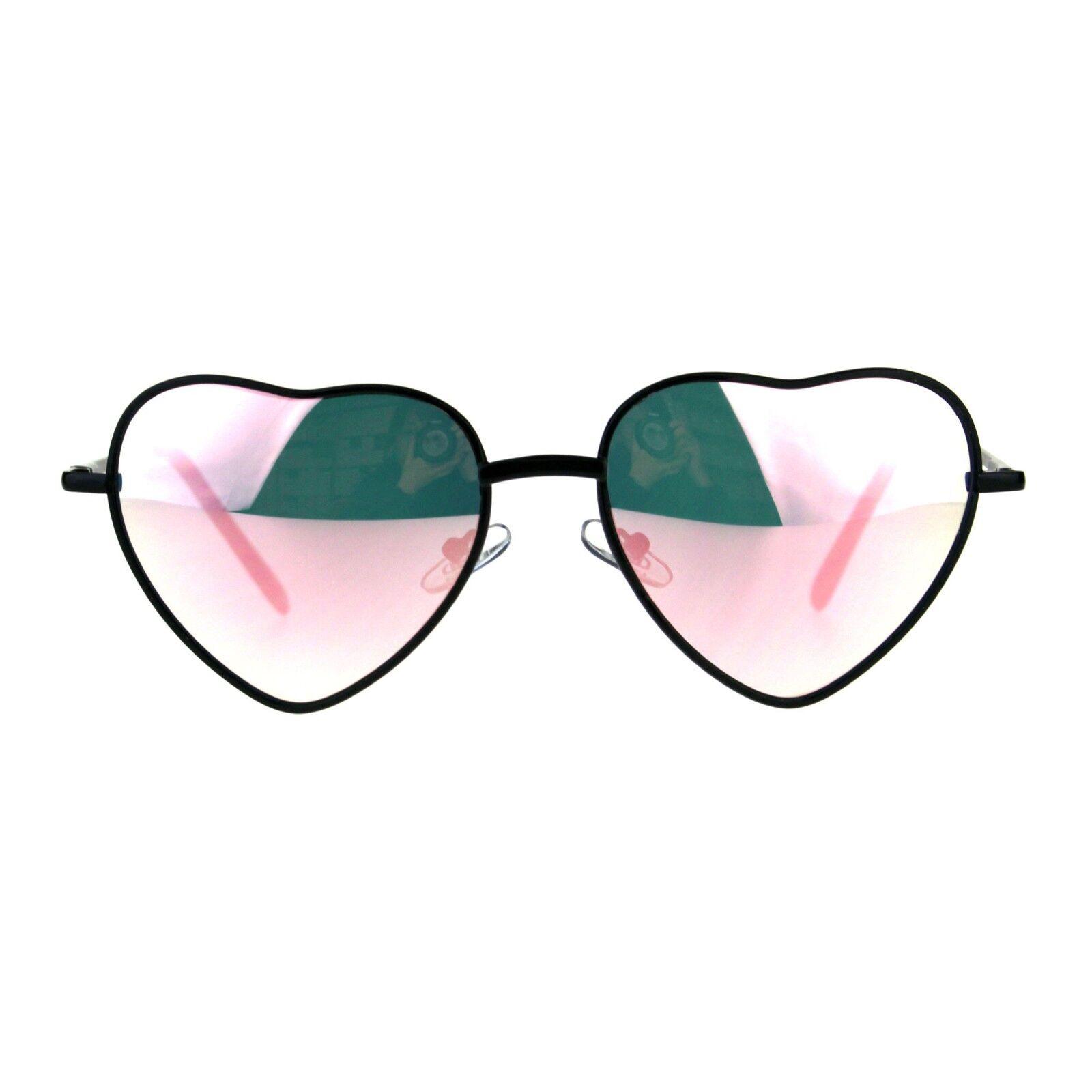 Heart Shape Sunglasses Pink Mirror Lens Metal Frame Spring H