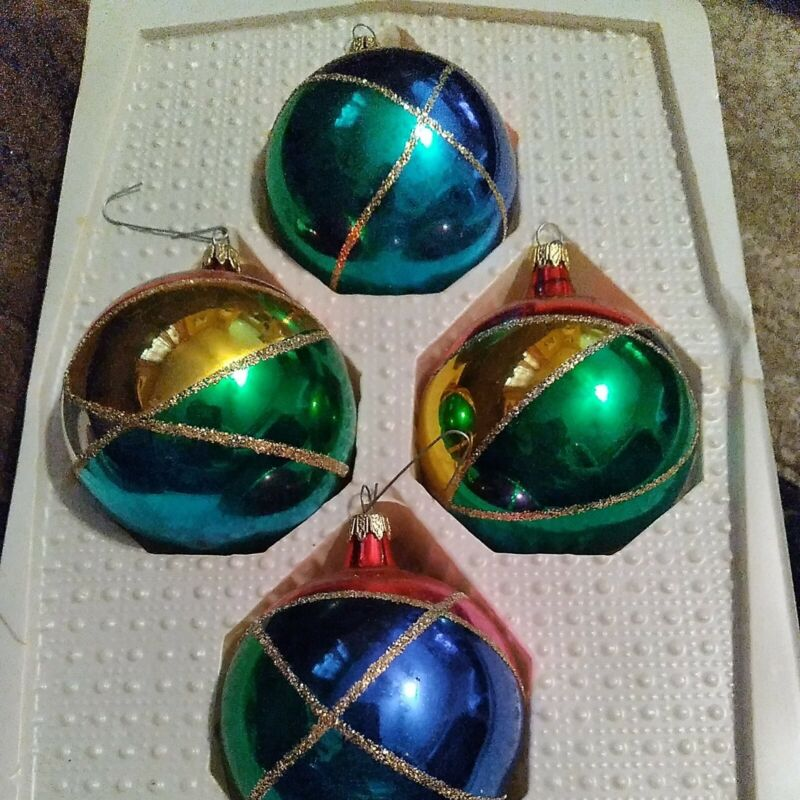 Vintage Traditional Glass Ornaments Set Of 4