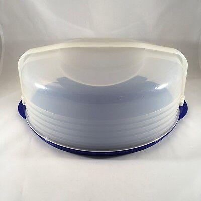 Tupperware Lacquer Blue Bake 'N Take Pie or Cupcake Taker